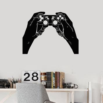 Vinyl Wall Decal Gamer Hands Gamepad Joystick Gaming Decor Art Stickers Mural (ig5645)