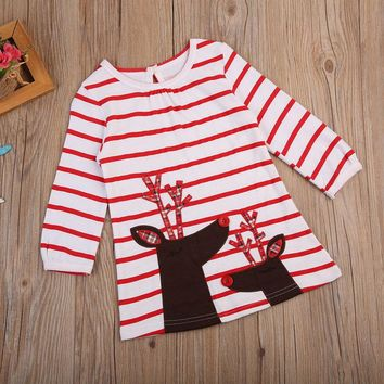 2017 Christmas Toddler Baby Girl Striped Dress Long Sleeve Reindeer Print Cotton Party Dresses Outfit Children Xmas Clothes 1-7Y