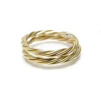 Twisted Gold Ring - ONE Brass Ring - Stacking Gold Rings - Twisted Yellow Brass Ring - Faux Gold Ring - Mix Match Rings - Simple Brass Ring