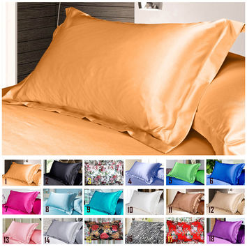 Simple Design Emulation Silk Satin Pillowcase Single Pillow Cover Multicolor 48*74cm #75280