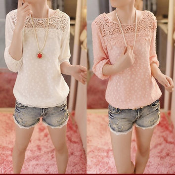 Korean Women's Spring Lace Chiffon Blouse Female Crochet Round Neck Chiffon Shirt Tops F_F = 1902519812