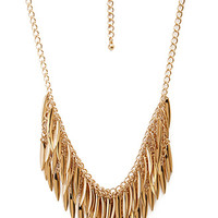 FOREVER 21 Layered Leaf Necklace Gold One