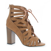Detour By Delicious, Open Toe Lace Up Cut Out High Heeled Sandals