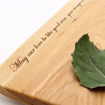 Natural Live Edge Engraved Cheese Board May by TimberGreenWoods