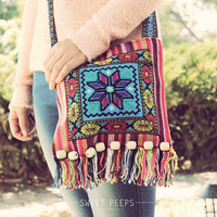 Bohemian Aztec CrossBody Bag, Button Tote, Back To School CrossBody, Vintage Aztec Print CrossBody, Hipster CrossBody Bag