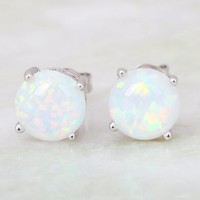 925 Sterling Silver Fire Opal Stud Earrings