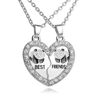 Christmas Gifts BEST FRIENDS Necklace BFF 2 Part Broken Heart Pendant Animal Panda Anchors Crystal Pendant Chain Necklace Friendship Jewelry-Christmas gifts