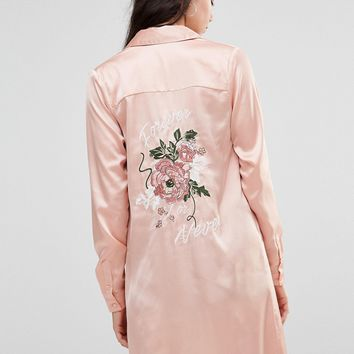Glamorous Tall Long Sleeve Maxi Shirt Jacket With Back Embroidery