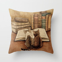 Kittens Reading A Book Throw Pillow by Digital Effects