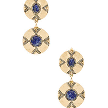 Dorelia Double Coin Earring in Gold & Lapis