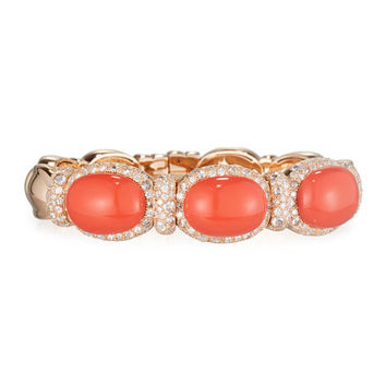 G. Verdi & C. Coral Cabochon & Diamond Bangle Bracelet