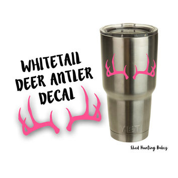 Whitetail Deer Antler Yeti Decal | Yeti Tumbler Decals | 13 colors!