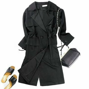 Fashion Woman Trench Coat Autumn Fashion Long Outerwear G-QWZDJ-YJDJPD-1