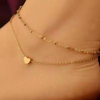 Jewelry New Arrival Shiny Gift Ladies Stylish Sexy Cute Simple Heart Double-layered Anklet [6768753415]