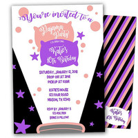 Sleepover Invitation - Slumber Party Invitations - Pajama Birthday Party - Girl Sleepover Birthday Invites - Purple Sleepover - Pink Pajama