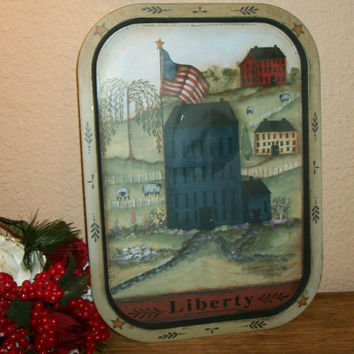 Decorative Metal Serving Tray USA Patriotic American Flag Liberty Stars Country Farm Americana Home Decor