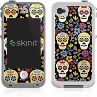 Skull & Bones Lifeproof iPhone 4&4s Skin - Skeletons and Flowers Vinyl Decal Skin For Your Lifeproof iPhone 4&4s