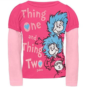 Dr. Seuss - Thing One Thing Two Pink Toddler 2Fer Long Sleeve T-Shirt