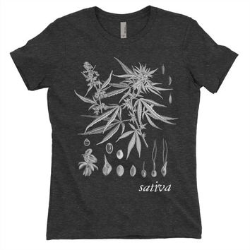 Weed Leaves Sativa Plant GrowthBalck Tri Blend T Shirt - Graphic Tee - Clothing - Gift