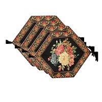 """Tache 4 Piece Country Rustic Floral Midnight Awakening Table Runner/Placemats , 13 x 17"""" (3089-4PC-3343)"""