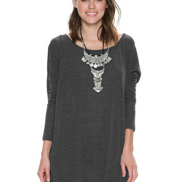 Dark Gray Back Cross Irregular Hem Long Sleeve Loose T-Shirt