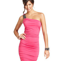 Tempted Juniors Dress, Sleeveless Ruched One-Shoulder - Juniors Homecoming Dress Shop - Macy's