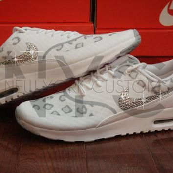 Nike Air Max Thea White Leopard Cheetah Swarovski Crystal Accent Blinged Out Custom Wo