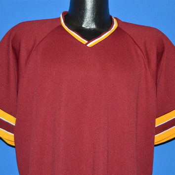 80s Rawlings Maroon Striped Jersey t-shirt Extra Large