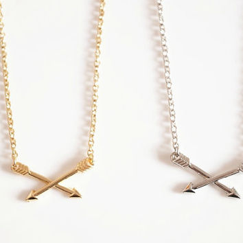 silver & gold cross arrow necklace sweater necklace short necklace personalized gift bridesmaids friendship love gifts