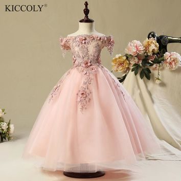 2017 Shoulderless first communion dresses for girls Vestido Daminha Casamento Luxury Ball Gown Pink Organza Flower Girl Dresses
