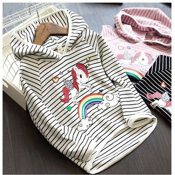 2018 Autumn Children Clothing Toddler Baby Girls Cartoon Rainbow Unicorn Striped Jacket for Girls Hoodies Kids Clothes Outerwear