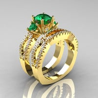 Modern French 14K Yellow Gold Three Stone Emerald Diamond Engagement Ring Wedding Band Set R140S-14KYGDEM