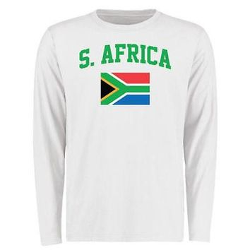 Licensed Sports South Africa Flag Long Sleeve T-Shirt - White KO_20_2
