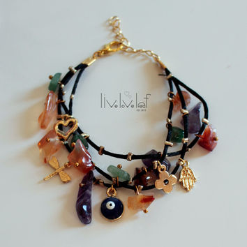 Multi charm multi-bead arm candy bracelet, evil eye stacked strands of fun gems stones and charms