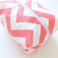 Coral Chevron Bag - Make up Bag  - Cosmetic Pouch -  Lunch Bag - Wet Bag - Waterproof Bag