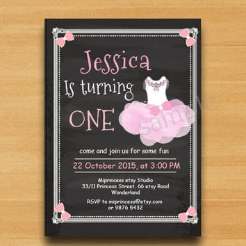 TUTU Birthday Invitation, sweet girl birthday Party any age, kids, 1st 2nd 3rd 4th 5th 6th 7th 8th 9th 10th 18th 16th  - card 418