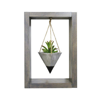 Mini Planter, Air Planter, Wall Planter, Succulent Planter, Concrete Planter, Modern Planter, Black Planter, Air Plant Holder, Shadow Box