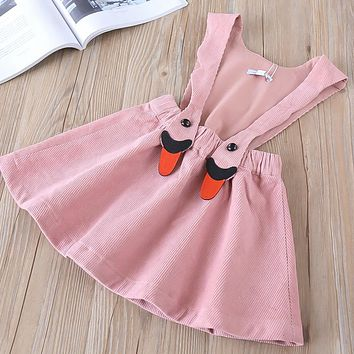 New baby Girl clothes Children Summer Clothing sleeveless Kids Clothes Casual suspenders solid Corduroy skirts