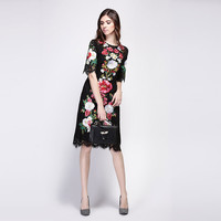 Summer Dress New Famous Brand Runway Women Black Lace Dress Embroidery Elegant Short Sleeve Knee-length Slim Dress Hot