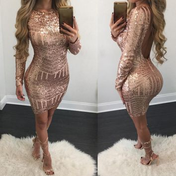 Sexy Long Sleeve Sequined Leakback Bodycon Dress