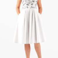 Floral embellished strapless poplin dress