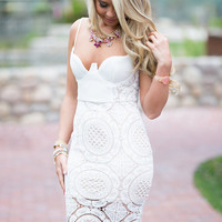 Madison Crochet Lace Pencil Dress White