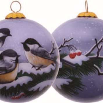Winter Chickadee Hand Painted Christmas Ornament