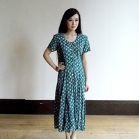 floral print dress / green dresses for women / 80s dress / short sleeved dress