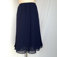 Navy Blue Vintage Women's Layered Skirt / Size 16 / Large