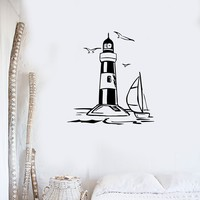 Vinyl Decal Lighthouse Nautical Marine Beach House Decor Vacation Decor Wall Sticker Unique Gift (ig1399)