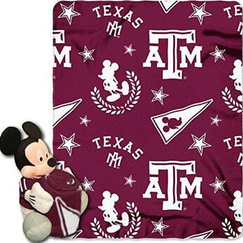 Texas A&M Aggies NCAA Mickey Mouse with Throw Combo
