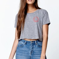 Billabong Bright Ride Cropped T-Shirt - Womens Tee - Grey