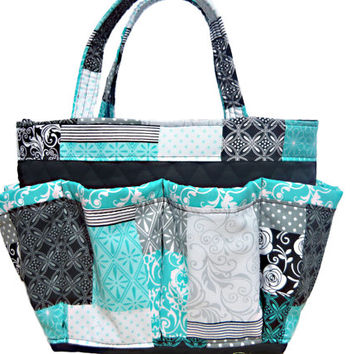 Quilt Print Bingo Bag // Craft Organizer // Makeup Organizer // Caddy // Teacher Tote // Nurse Tote
