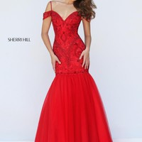 Sherri Hill Fitted Mermaid Black Dress 50212